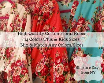 Sale! Cotton Bridesmaid Robes, Bridesmaid Gift, Floral Kimono, Bridesmaids Party Robes, Kimono Robes, Bridal Party Robes, Wedding Robes