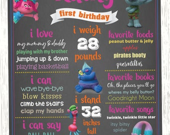 Trolls Birthday Chalkboard Sign, Poppy Chalkboard Sign, Trolls Digital File, Trolls Invitation