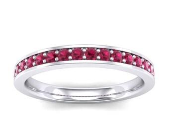 Medium Channel Pave Ruby Ring, Channel Ruby Ring, Channel Pave Ring, Medium Ruby Ring, Ring For Her, Wedding Ring, Wedding Jewelry
