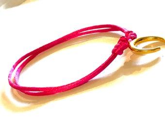 Fuchsia and Horn (Moon) color bracelet gold