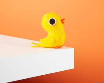 Canary bird ornament, Cute desk accessory, Stuffed felt animal, Kawaii felt plush, Bird lover gift