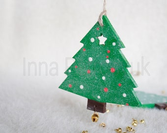 Wooden Christmas tree.Wooden handmade.Christmas ornaments.Handmade Christmas tree ornaments.Christmas tree ornaments. Xmas decorations.