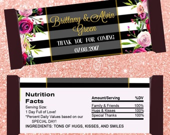 Candy Bar Wrappers - Wedding Favor - Bridal Shower - File only - with picture Personalized