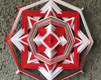 Red&White Interior Ojos De Dios Yarn Mandala, 12 inch, 8 sided