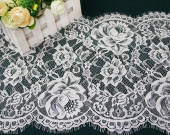 White Flower Eyelash Lace Fabric Lace Trim 59.05 Inches Wide 1.64 Yards/ Craft   Supplies, WL1426