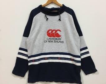Rare !!! Vintage canterbury of new zealand big logo sweatshirt