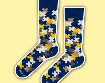 Carlitos - navy brown elegant socks | funky socks | gift socks | men socks | colorful socks | dress socks | casual wedding socks