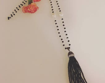 Handmade Fresh Water Pearl Black Spinel Tassel Necklace
