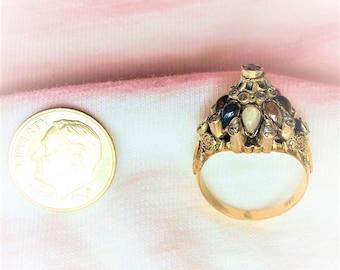 Estate 8k Gold Vintage Genuine Gemstone Harem Princess Dinner Cocktail Ring 4.1g sz 6.25 Statement Tiered Thai Thailand Marked 14 k kt 14k
