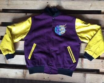 1980s vintage MTV jacket, leather, purple, yellow, bomber, 80s, music, television, friday night, videos, saturday morning, tv show, rare