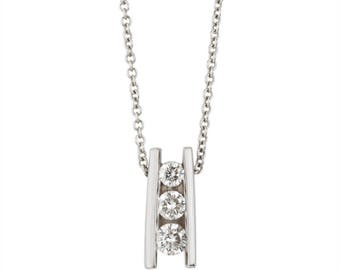 14k white gold diamond bar set pendant