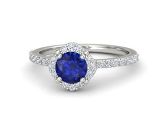 Blue Sapphire ring.Blue sapphire engagement ring in 18k white gold 6 mm natural round blue sapphire.Sapphire engagement ring