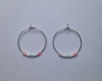 Baby pink, baby blue and white beaded earrings