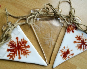 Snowflake glass fused christmas xmas winter festive bunting orange/red and white