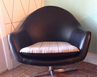 Mid Century Black Lounge Chair/ Overman AB Pod Chair Sweden Danish Modern
