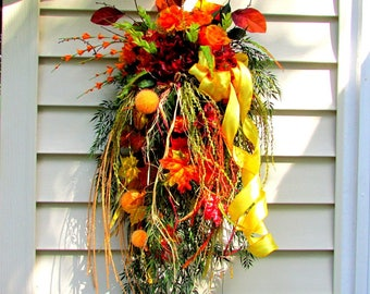 fall decorations, front door wreath, fall swag, beautiful wreaths, Autumn decor, autumn wreath, wreaths and swags