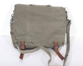 VINTAGE MESSENGER BAG, Canvas shoulder bag, military army cros sbody bag, 1980's, Gift