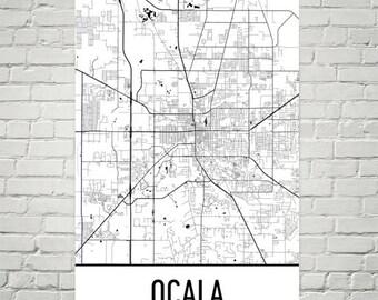 Ocala FL Map, Ocala Florida Art, Ocala Print, Ocala Poster, Ocala Wall Art, Florida Gifts, Map of Florida, Florida Poster, Florida Decor