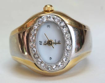 Ring Watch Finger Watch Stretchy Band Japanese Quartz Gift for Her Two Tone