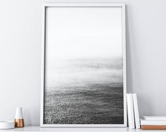 Ocean Wall Art Decor| Minimalist Black and White| Coastal Printable Art| Seascape Wall Decor| Scandinavian Print| Nautical Wall Art