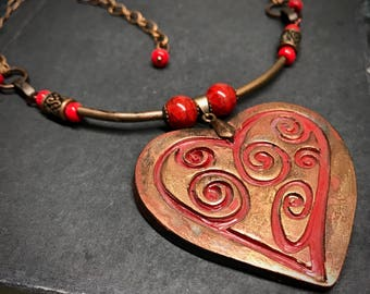 Large Pendant Necklace, Red Heart Pendant Necklace, Heart Jewelry,  Statement Necklace for Women, Polymer Clay Pendant Necklace, Handmade