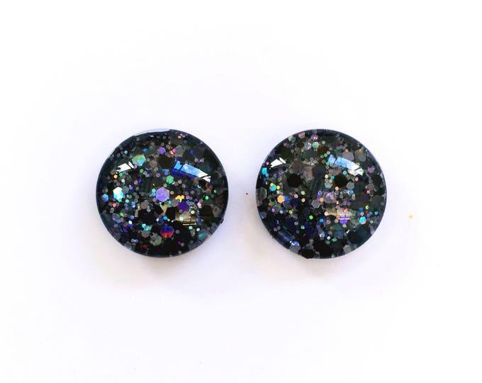 The 'Black Diamond' Glitter Glass Earring Studs