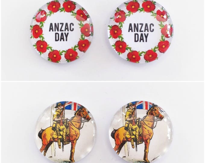 The 'Anzac' Glass Earring Studs
