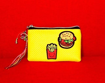 Yellow Hamburger & French Fries Make Up Bag