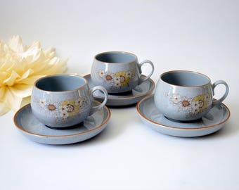 Reflection by Denby, Vintage Tea Cups, Vintage Tea Cups, Vintage Denby, Floral Denby Tea Cups, Vintage Tableware