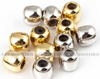 5pcs Stopper beads , drum/barrel shape, shinny finish , with Rubber silicone inernal Ring , Gasket for bracelet, Necklace, Spacer Bead , 6mm