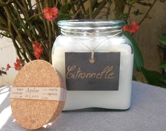 CITRONELLA candle in jar 100% recycled 1 liter
