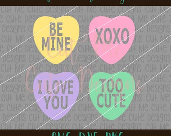 SVG DXF PNG cut file cricut silhouette cameo scrap booking Candy Hearts