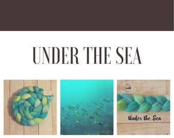 Under the Sea, 100% Merino Combed Top, hand dyed, spinning fiber