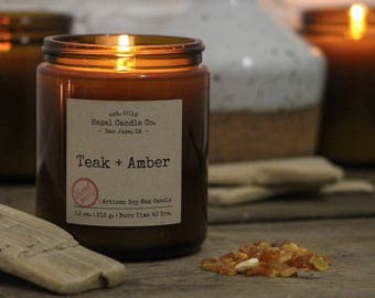 Teak and Amber Scented SOY WAX CANDLE Artisan Handmade Candles - Soy Candles - Custom Candles - Aromatherapy Candles with essential oils