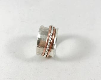 Sterling Silver and Copper Spinner Ring - Handmade Silver Ring - Spinner Ring - Mixed Metals Ring
