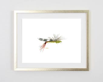 Fly Fishing Print / Flies / Fly Tying Painting / Father's Day Fishing / Birthday Gift for him /Decor /Gift for Dad / baby boy nursery /5x7