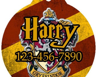 Harry Potter Gryffindor Inspired Dog Cat Pet Round Name ID Tag Backpack Name Tag Shoe Sneaker ID Tag
