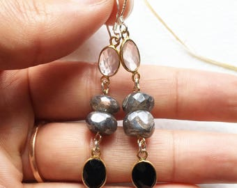 Faceted Rose Quartz, Onyx, and Labradorite Stunning Droplet Sterling Silver Earrings~ by Sparkle Mountain Jewels