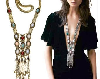 Turkish long multi color silver/ and gold necklace