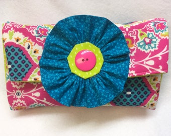 Diaper and wipes clutch, baby shower gift, baby girl wipes clutch