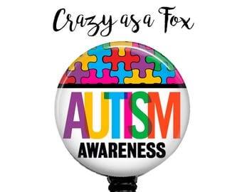 Autism Awareness Retractable Badge Holder, Nurse Retractable ID Badge Holder, Autism Awareness Badge Reel, ID Badge Reel