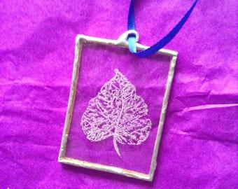 Hand Engraved Glass Leaf