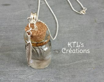 """Resin necklace """"vial of feathers"""""""