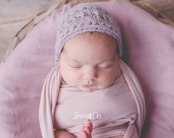 Handknit hat, Newborn Bonnet, Baby Bonnet, Newborn photography prop, Photography props, Newborn Photo, Newborn hat, photo prop, alpaca