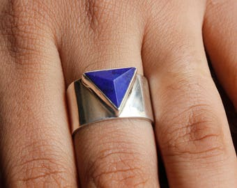 On Sale 92.5 sterling silver Lapis lazuli Ring  Triangle  Ring Blue Gemstone Ring Statement ring handmade Ring.