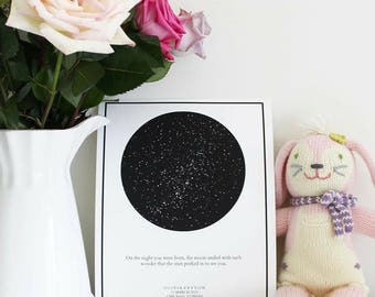 Star Map Wall Art; Customized Star Map art; Constellation and Stars Wall Art; Personalized Nursery Art; Personalized Wedding Art