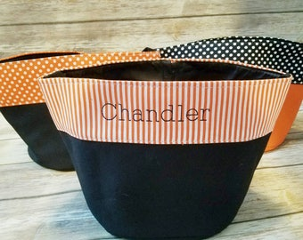 Embroidered Halloween Bucket, Personalized Trick or Treat Bag, Striped Bucket, Polka Dot Bag, Trick or Treating Candy, Halloween Bag Name