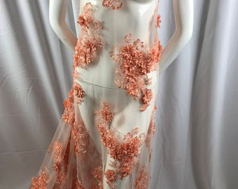 Lace Fabric -  3D Flower Beaded Embroidery Diamonds Peach Mesh Dress Floral Wedding Decoration Bridal Veil - By The Yard