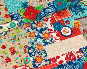 Cotton of flower parade blue-colored for patchwork (10.90 EUR / meter)