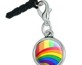 Double Rainbow Pride Arc Mobile Cell Phone Headphone Jack Anti-Dust Charm fits iPhone iPod Galaxy
